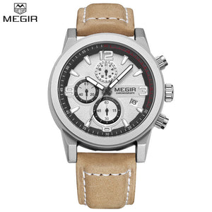 Julien 2018 Megir Leather Strap Sports Watch