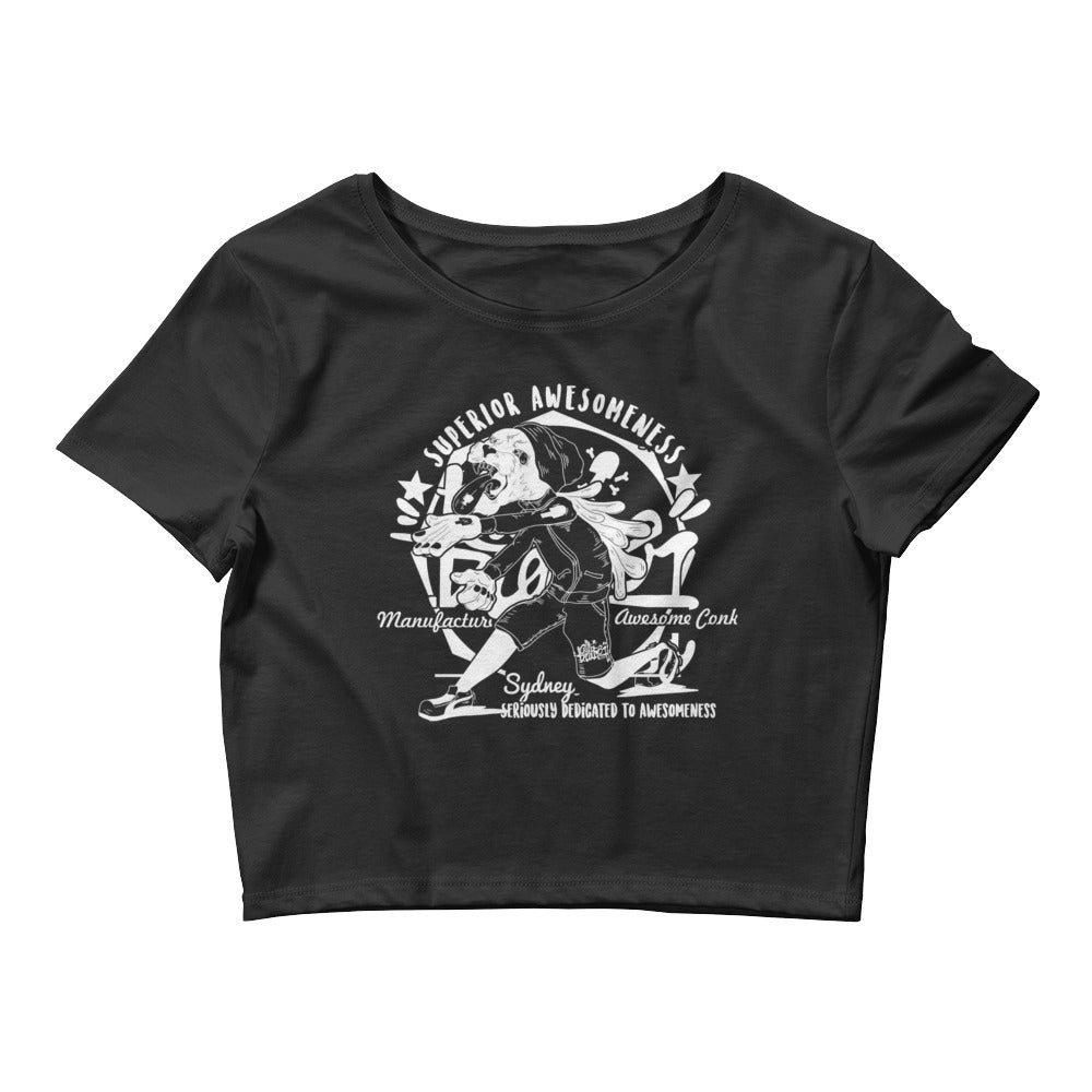 panther round Women's Crop Tee - brotherconk_thexface