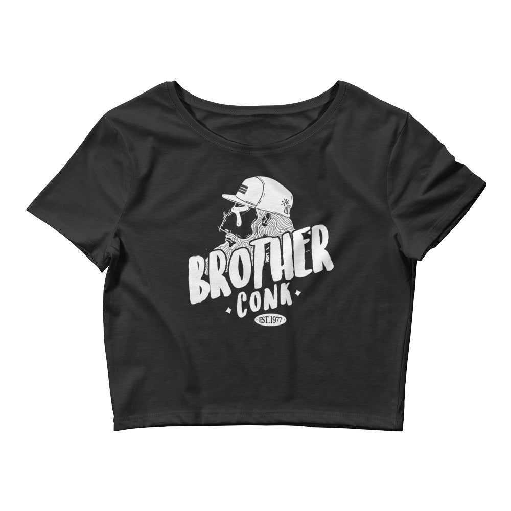 mocy hipster Women's Crop Tee - brotherconk_thexface