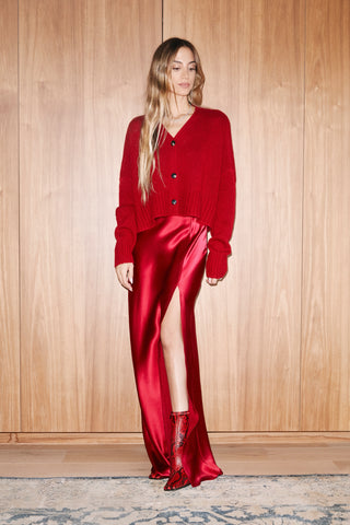 ISABELLA SILK SKIRT WITH SLIT | RED