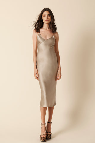 TAYLOR SILK SLIP DRESS | TAUPE