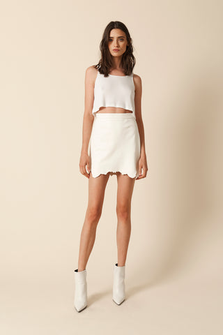 LILIAN LEATHER SKIRT | WHITE