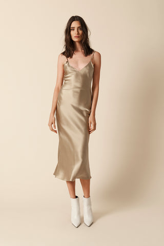 TAYLOR SILK SLIP DRESS | CAMEL