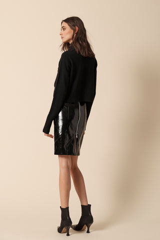 DAISY PATENT SKIRT | BLACK