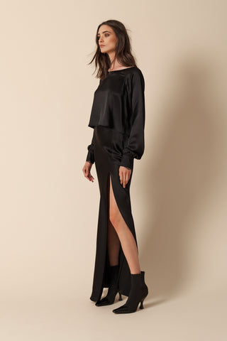 ISABELLA SILK SKIRT WITH SLIT | BLACK