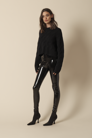 MARIAM BRAIDED CASHMERE PULLOVER | BLACK
