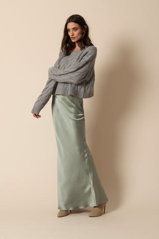 VALENTINA LONG SILK SKIRT | MINT