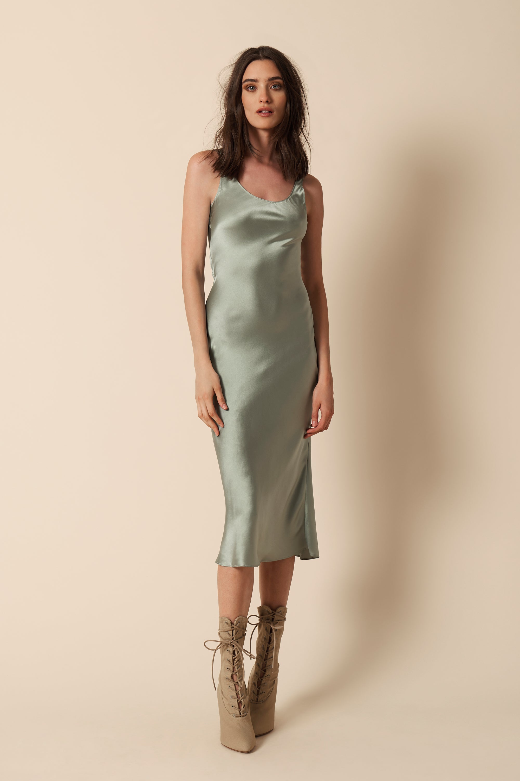 CHARLIE CREW NECK SLIP DRESS | MINT - FINAL SALE