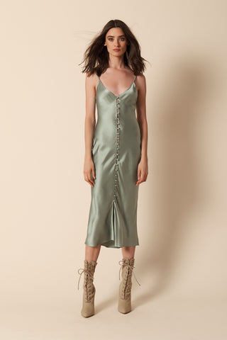 CARLA COVERED BUTTON SLIP DRESS | MINT- FINAL SALE