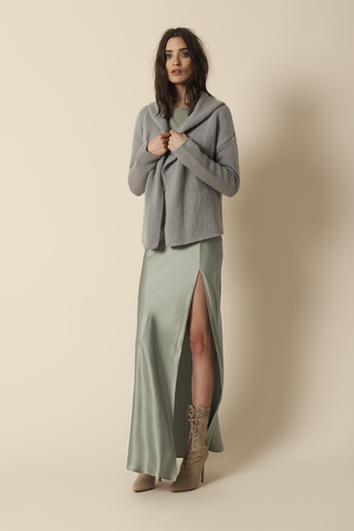 ISABELLE HOODED CASHMERE SWEATER | SLATE