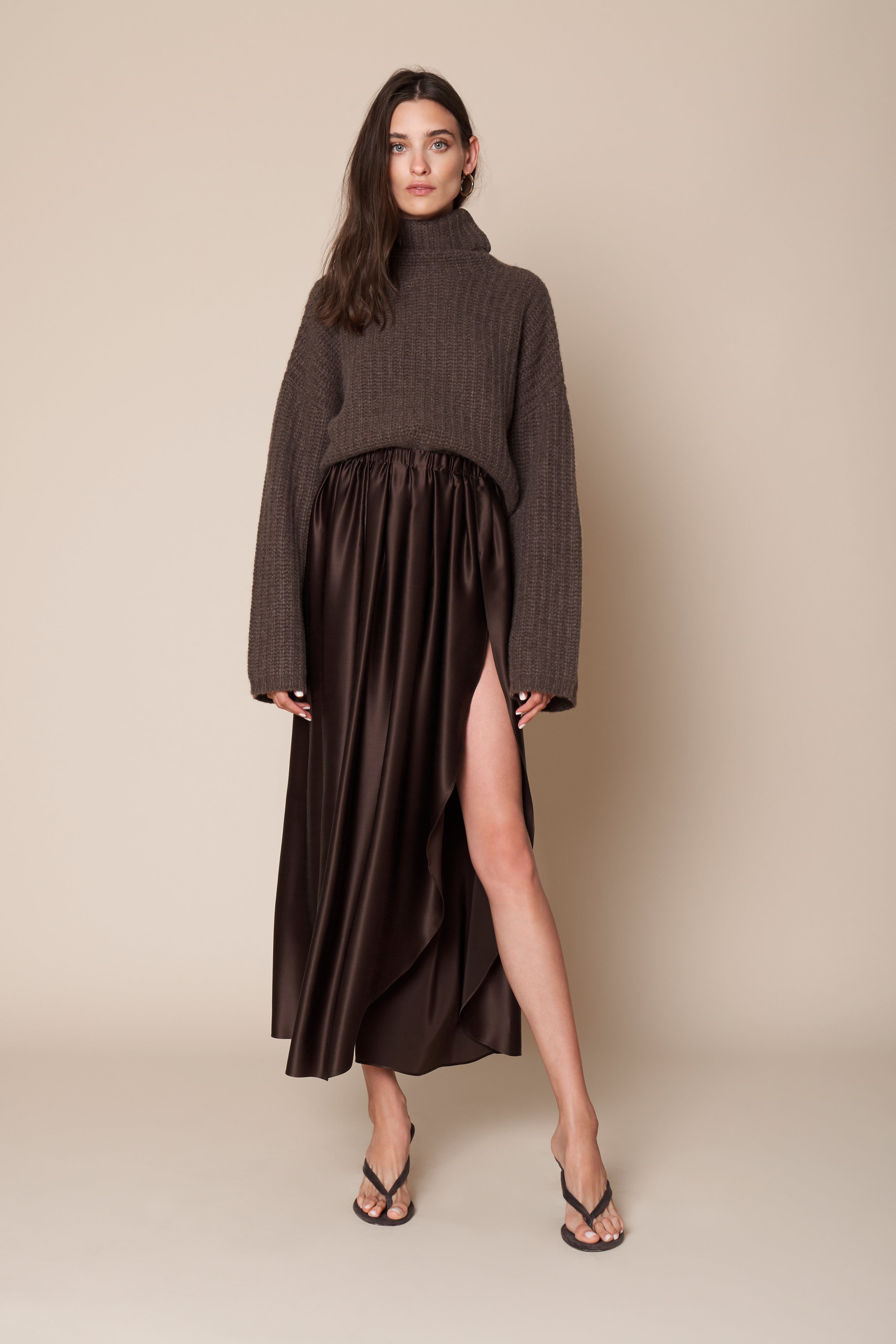 MASHA SILK SKIRT WITH SLIT | CHOCOLATE