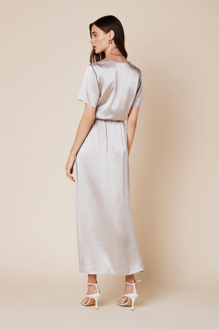 ADDISON LONG SILK DRESS | PEBBLE - Final Sale