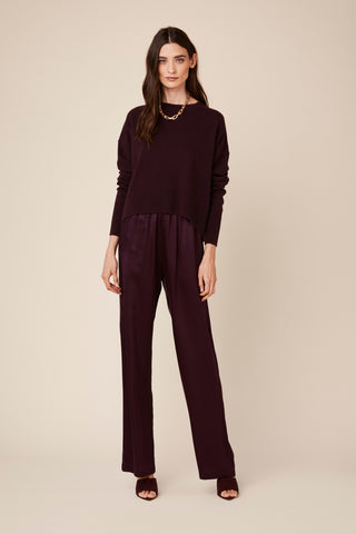 PENELOPE SILK PANTS | BORDEAUX