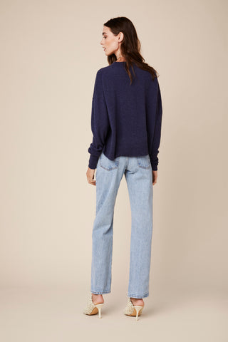 ADRYAN CASHMERE PULLOVER | BLUE DENIM - Final Sale