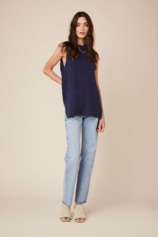 ASHLEY SLEEVELESS CASHMERE TOP | BLUE DENIM - Final Sale