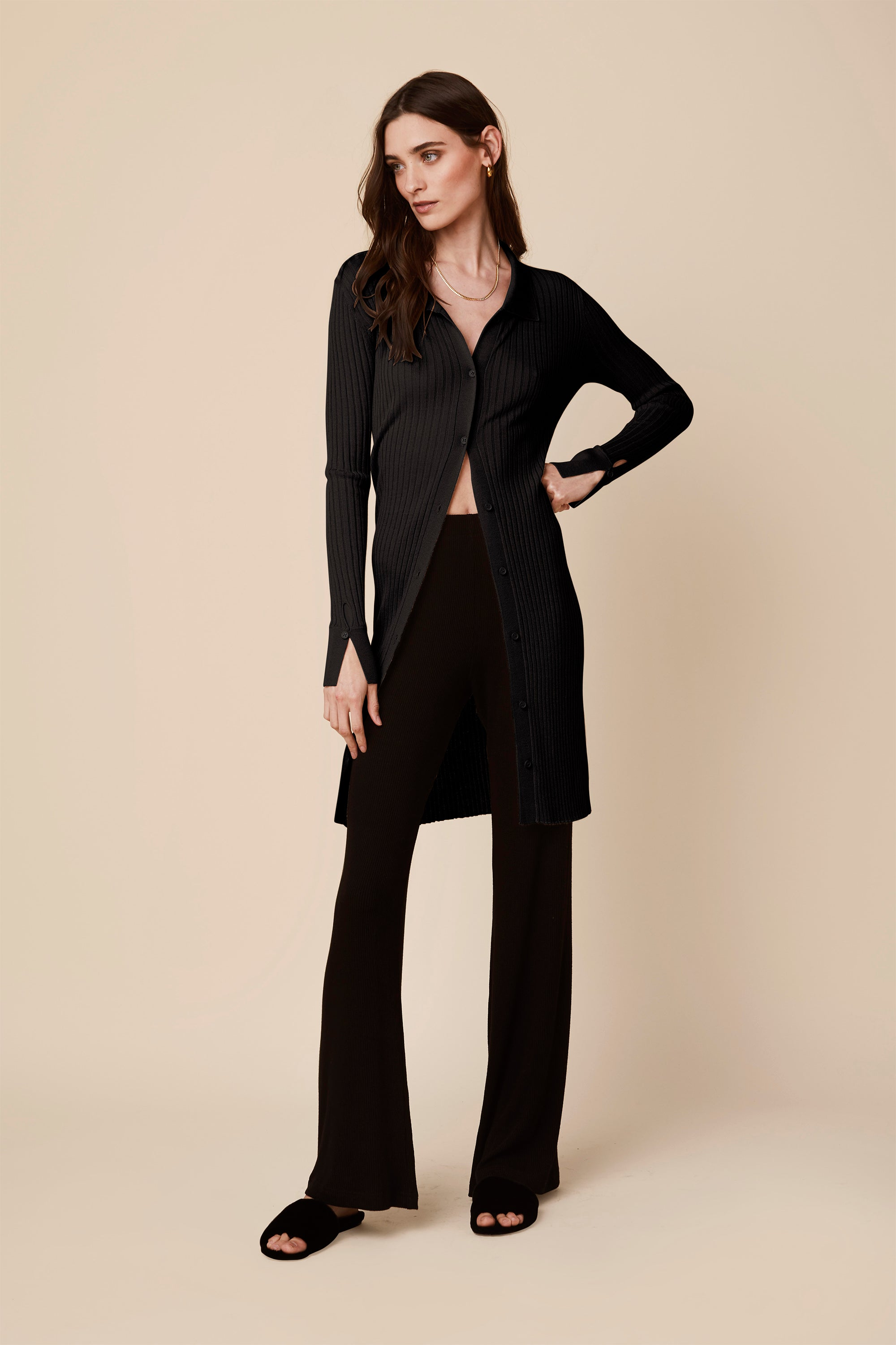 BEA LONG CASHMERE DRESS | BLACK