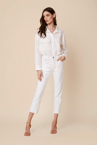 CLOVER  FLAP POCKET LINEN SHIRT | WHITE