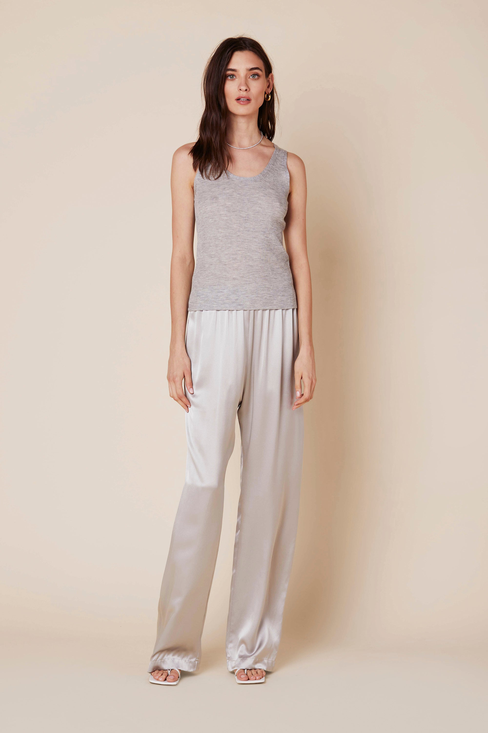 CASSIE CASHMERE TANK | PEBBLE - Final Sale