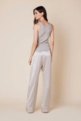 PENELOPE SILK PANT | PEBBLE - Final Sale