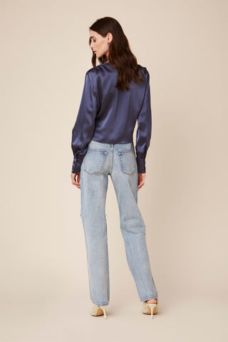 CHANCE V-NECK SILK BLOUSE | BLUE DENIM - Final Sale