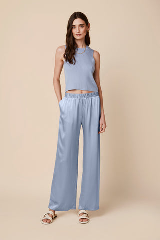 DENVER LOW WAIST SILK PANTS  | SKY