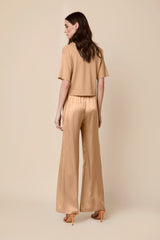 FLEUR SILK HIGH WAISTED PANT | BURNT SUGAR