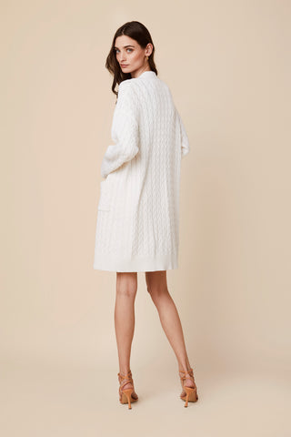 MIRNA LONG BRAIDED CABLE KNIT CARDIGAN | WHITE