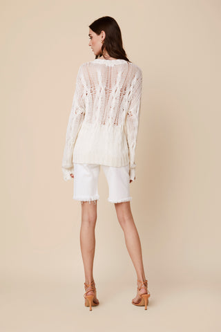 MITZY CABLE KNIT SWEATER | WHITE