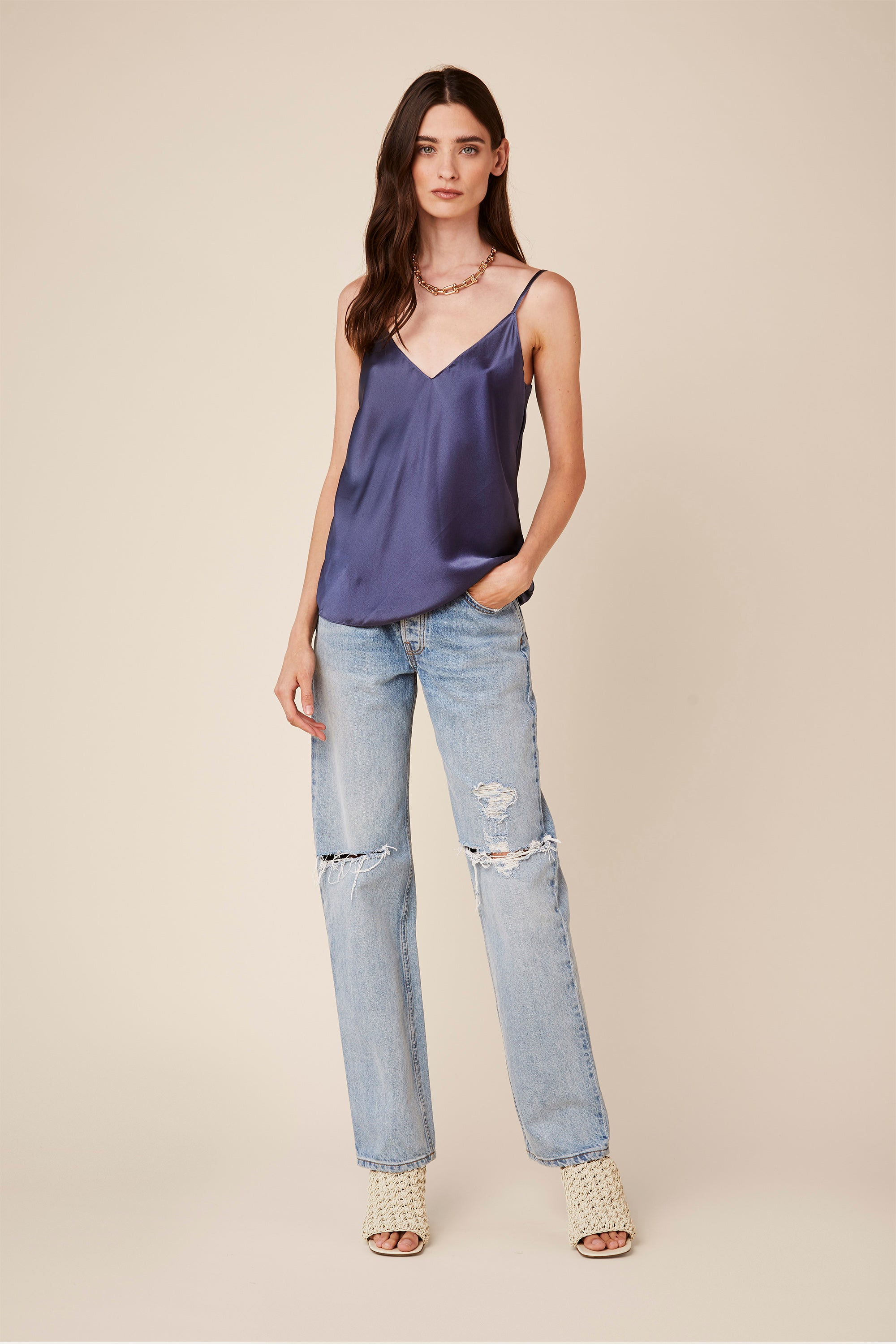 GLORIA SILK TANK | DENIM BLUE
