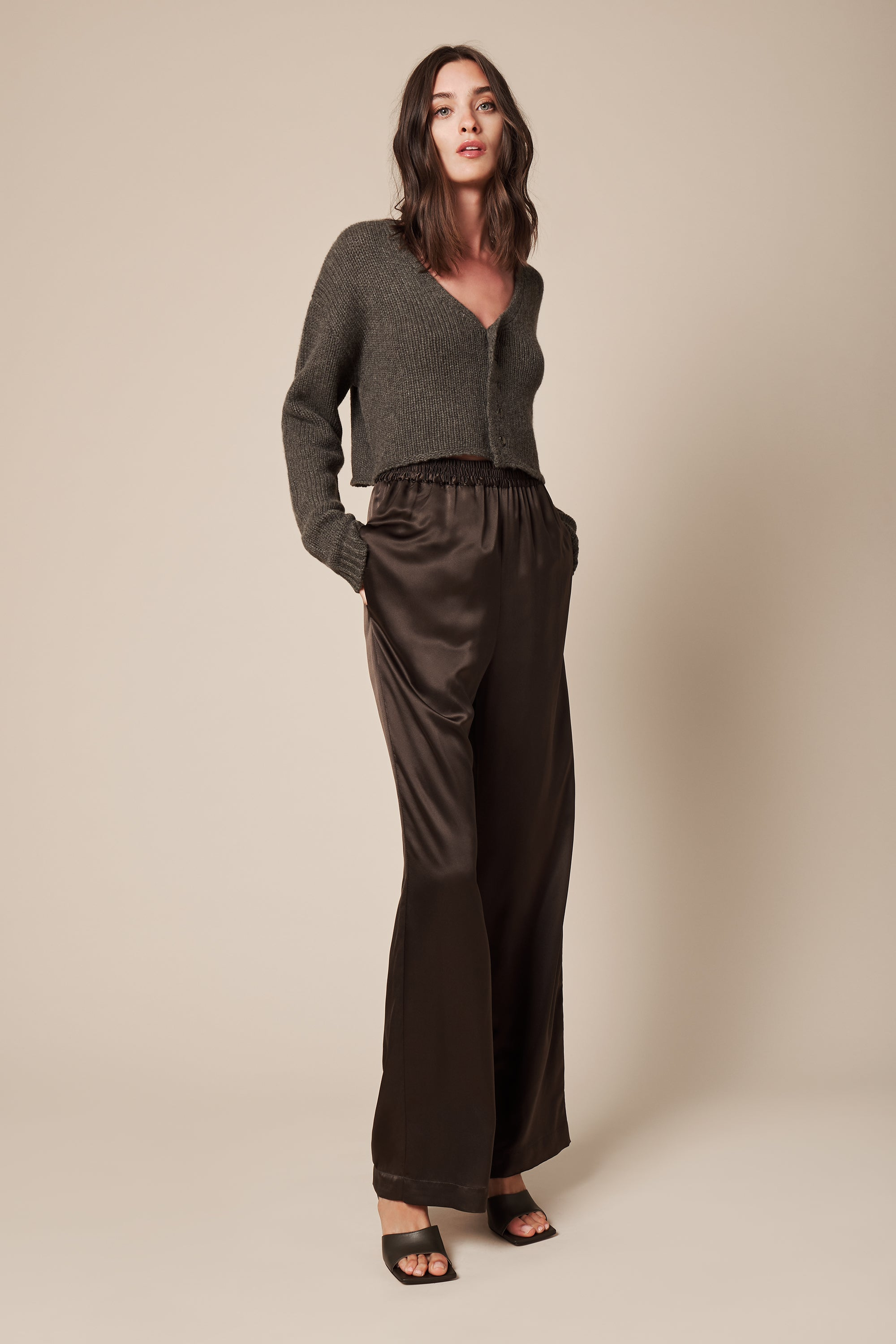 PENELOPE SILK PANT | OLIVE or POWDER - FINAL SALE