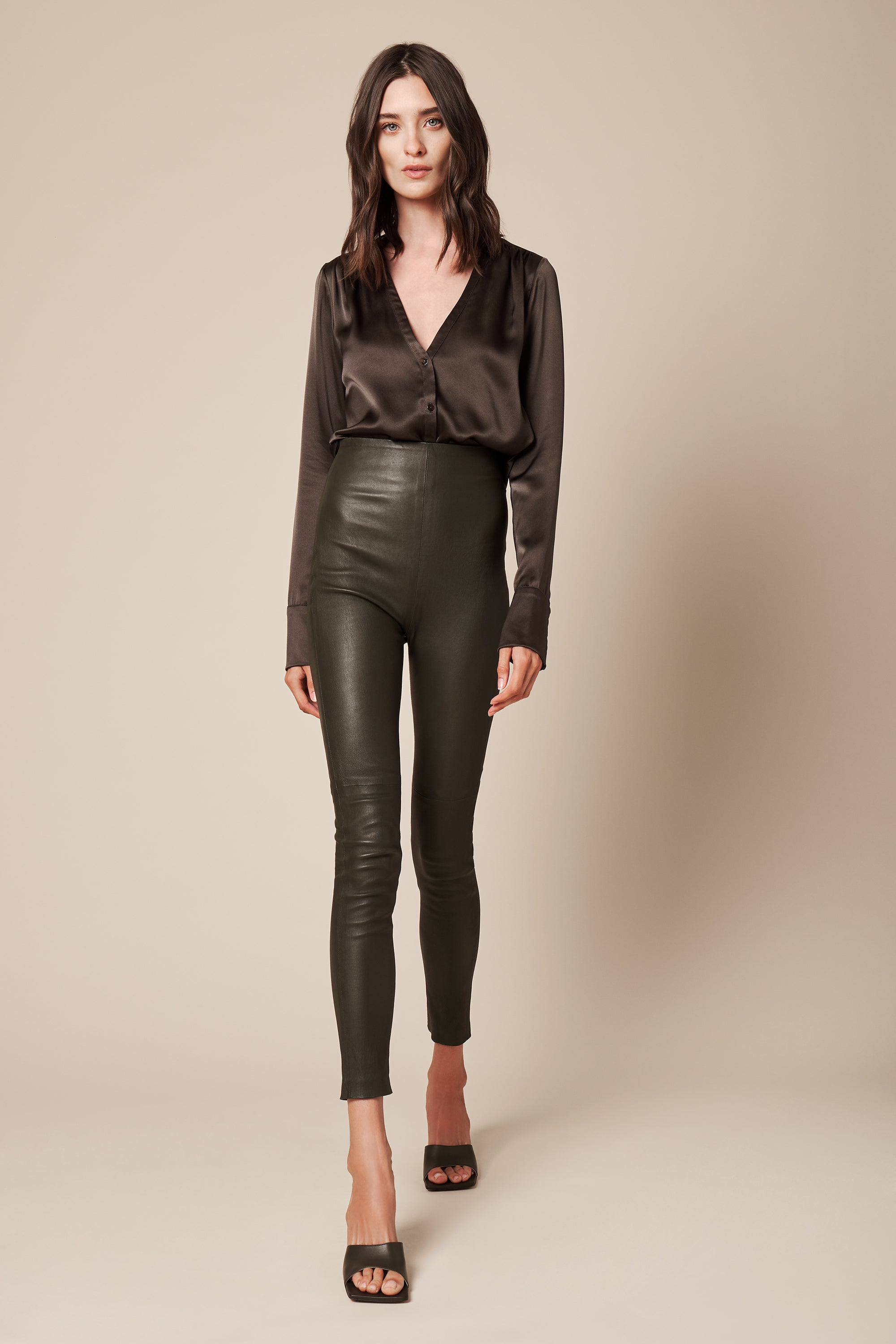 JESSICA LEATHER PANT | OLIVE