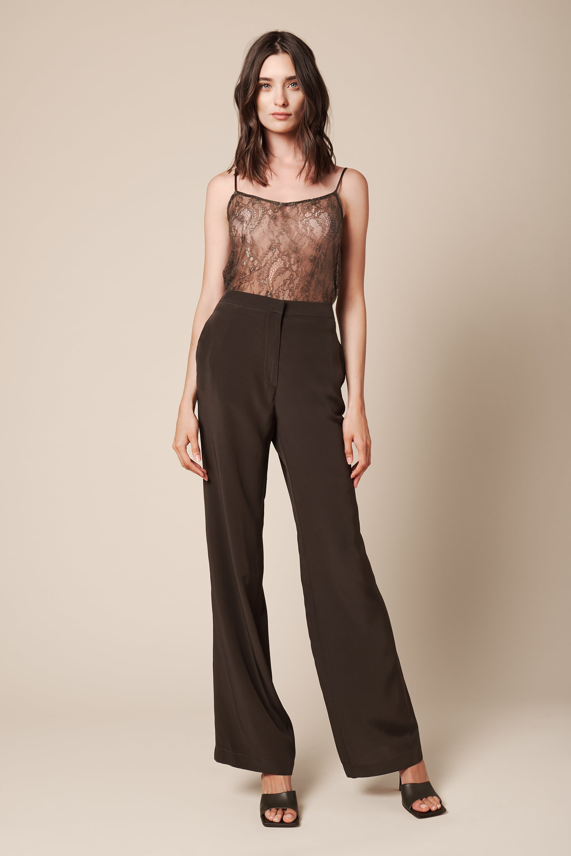 LINDA CREPE DE CHINE PANT | OLIVE - FINAL SALE