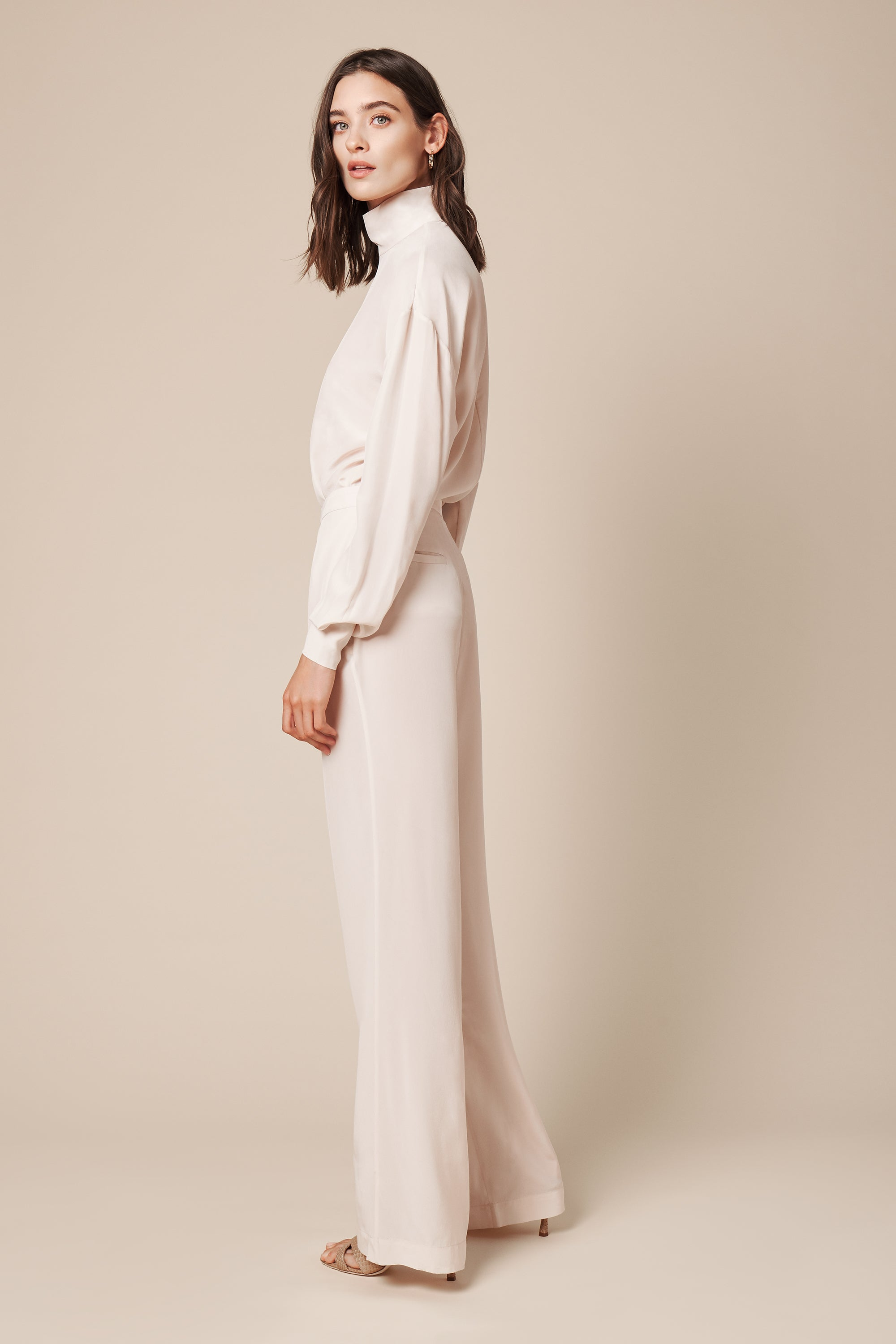LINDA CREPE DE CHINE PANT | POWDER - FINAL SALE