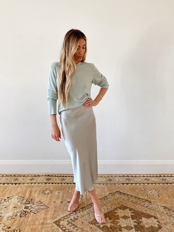 MIRANDA SILK SKIRT | SAGE - Final Sale