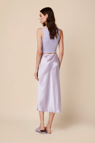 MIRANDA LONG SILK SKIRT  | LAVENDER