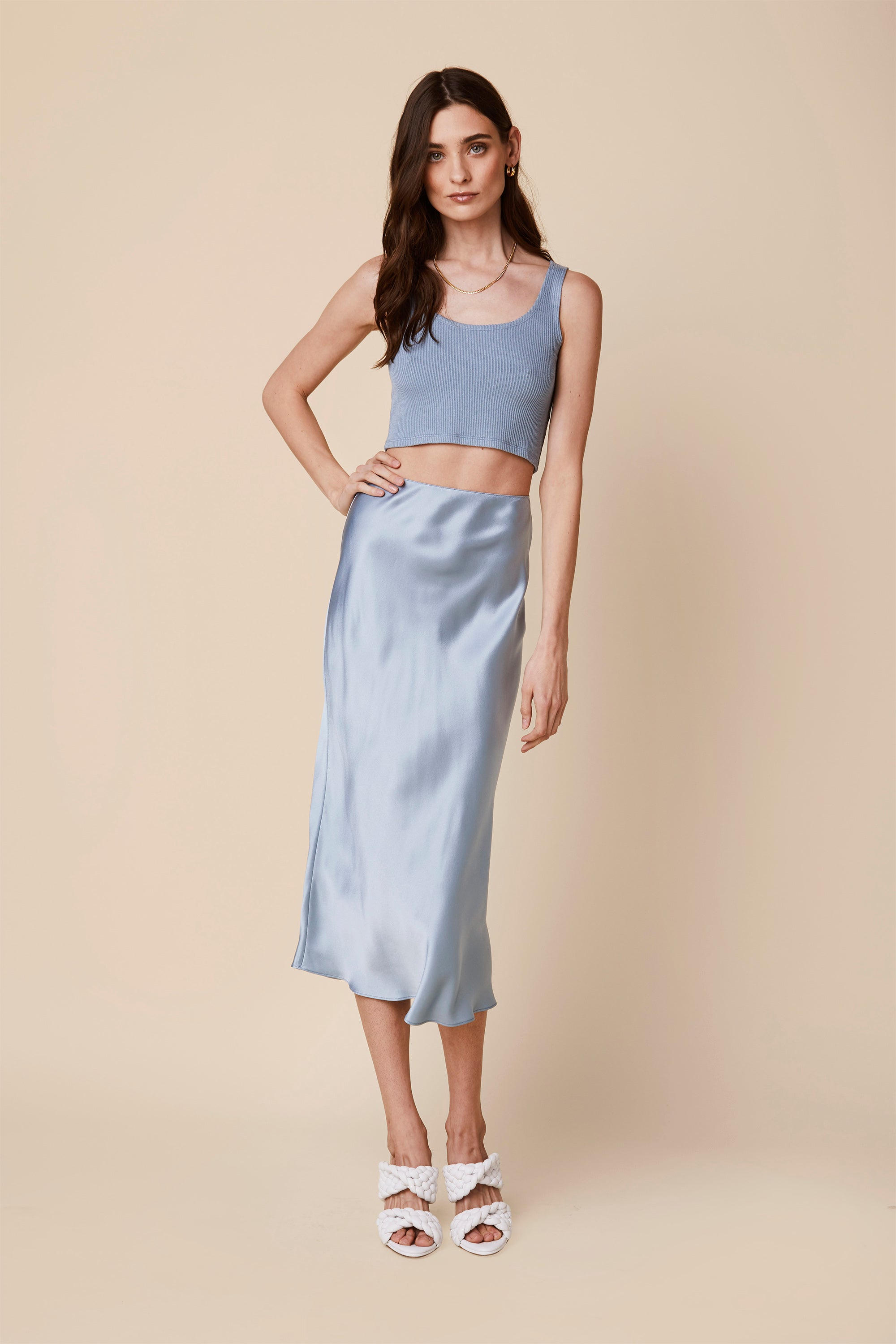MIRANDA SILK SKIRT  | SKY