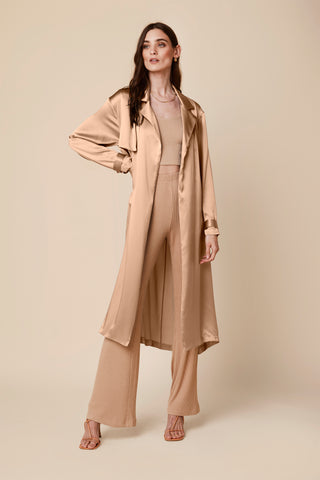 MOD SILK TRENCH COAT | BURNT SUGAR