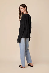 MITZY CABLE KNIT SWEATER I BLACK