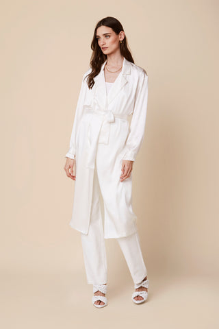 MOD SILK TRENCH COAT | WHITE