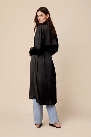 MOD SILK TRENCH COAT I BLACK