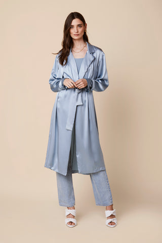 MOD SILK TRENCH COAT | SKY