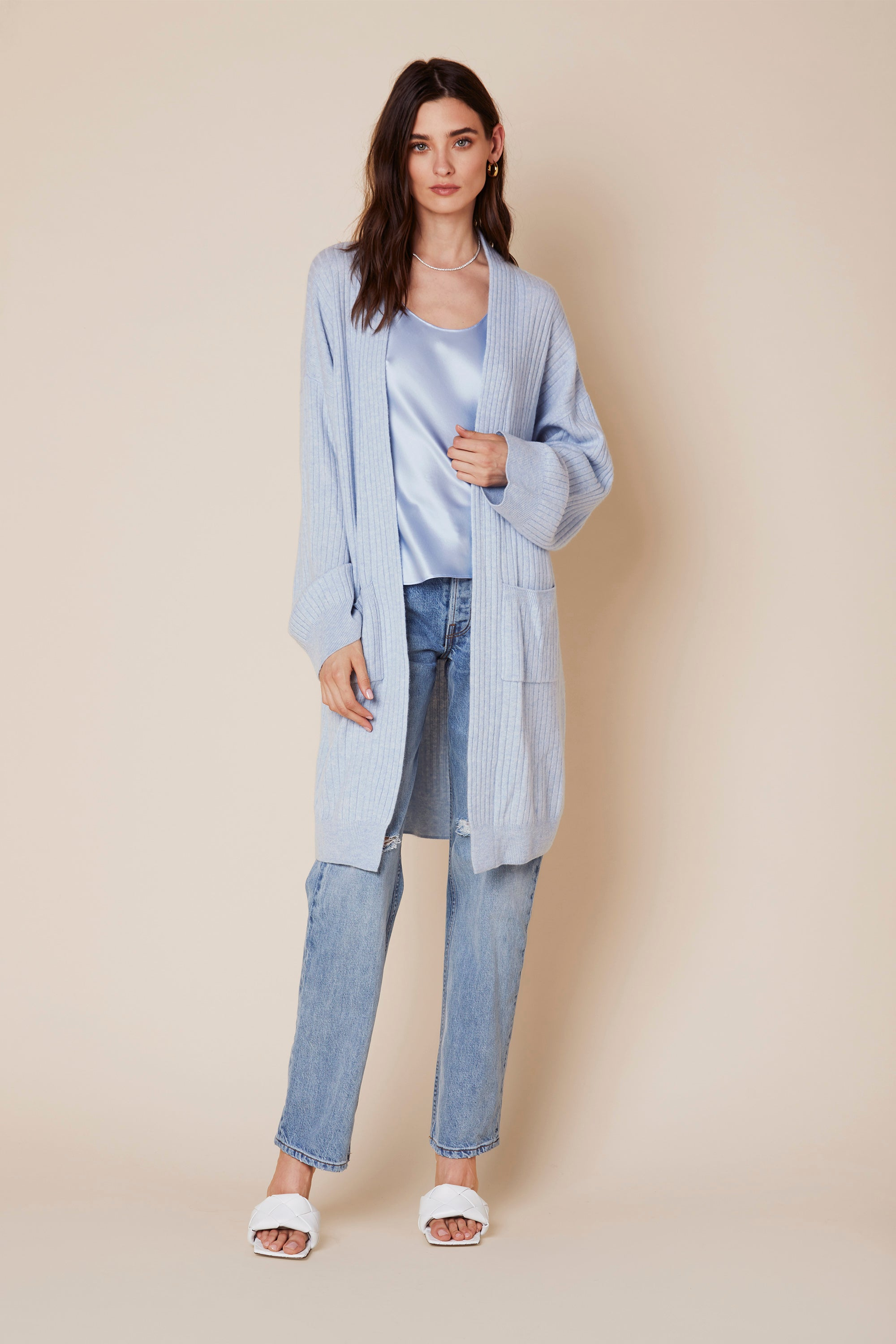 MAKENNA LONG CASHMERE SWEATER  | AZURE - Final Sale