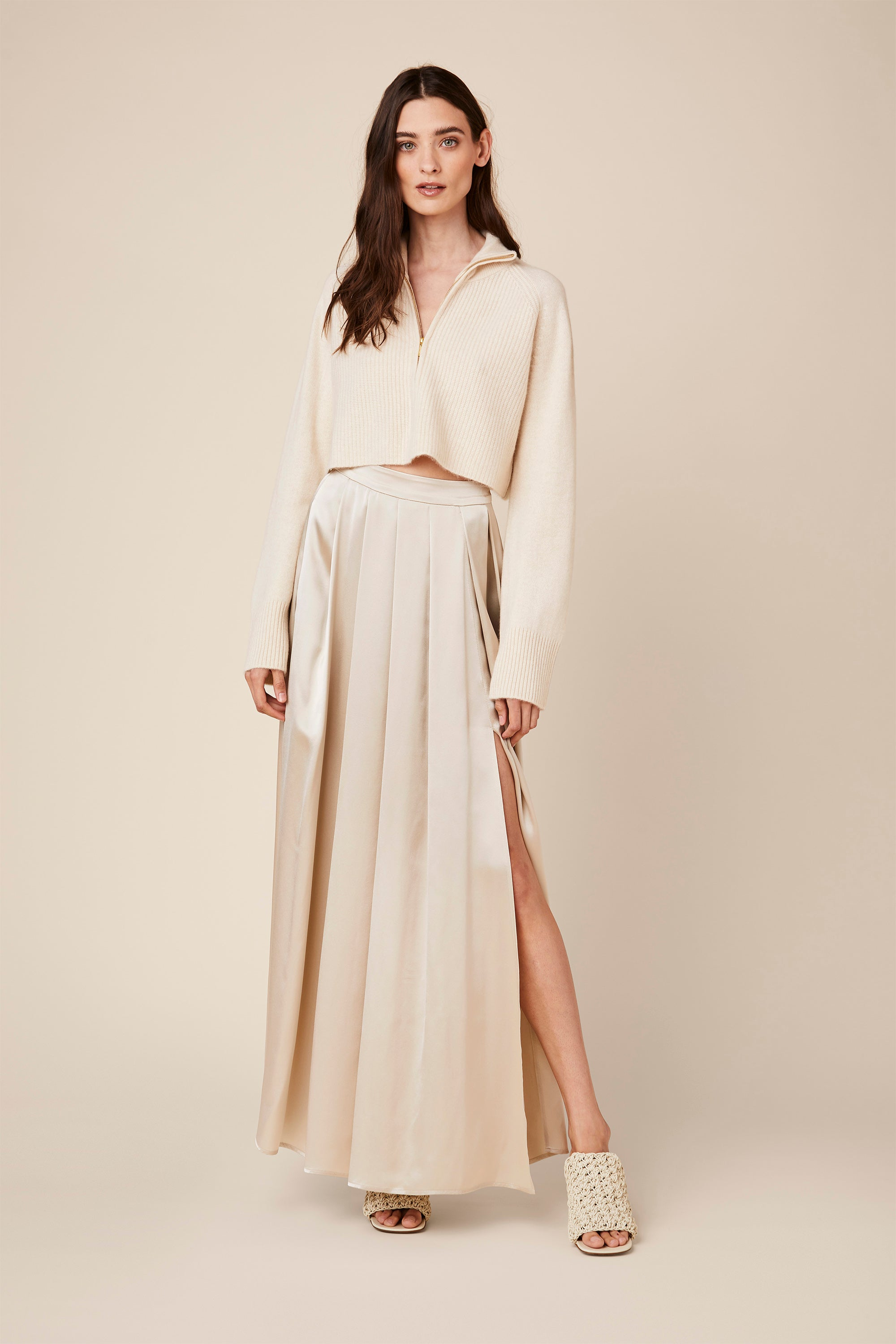 LUCA PLEATED SILK SKIRT | CREAM