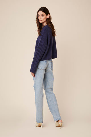 NATHAN RIBBED CASHMERE PULLOVER | BLUE DENIM - Final Sale