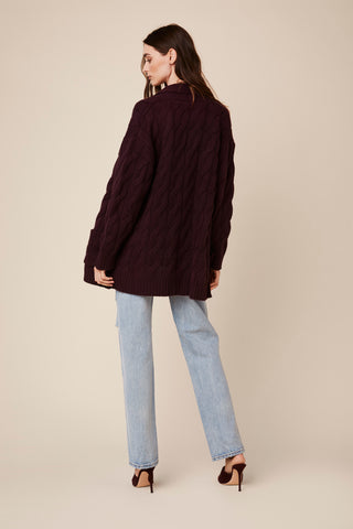 NILES  BRAIDED CASHMERE CARDIGAN | BORDEAUX