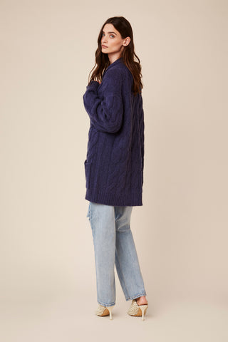 NILES  BRAIDED CASHMERE CARDIGAN | BLUE DENIM - Final Sale