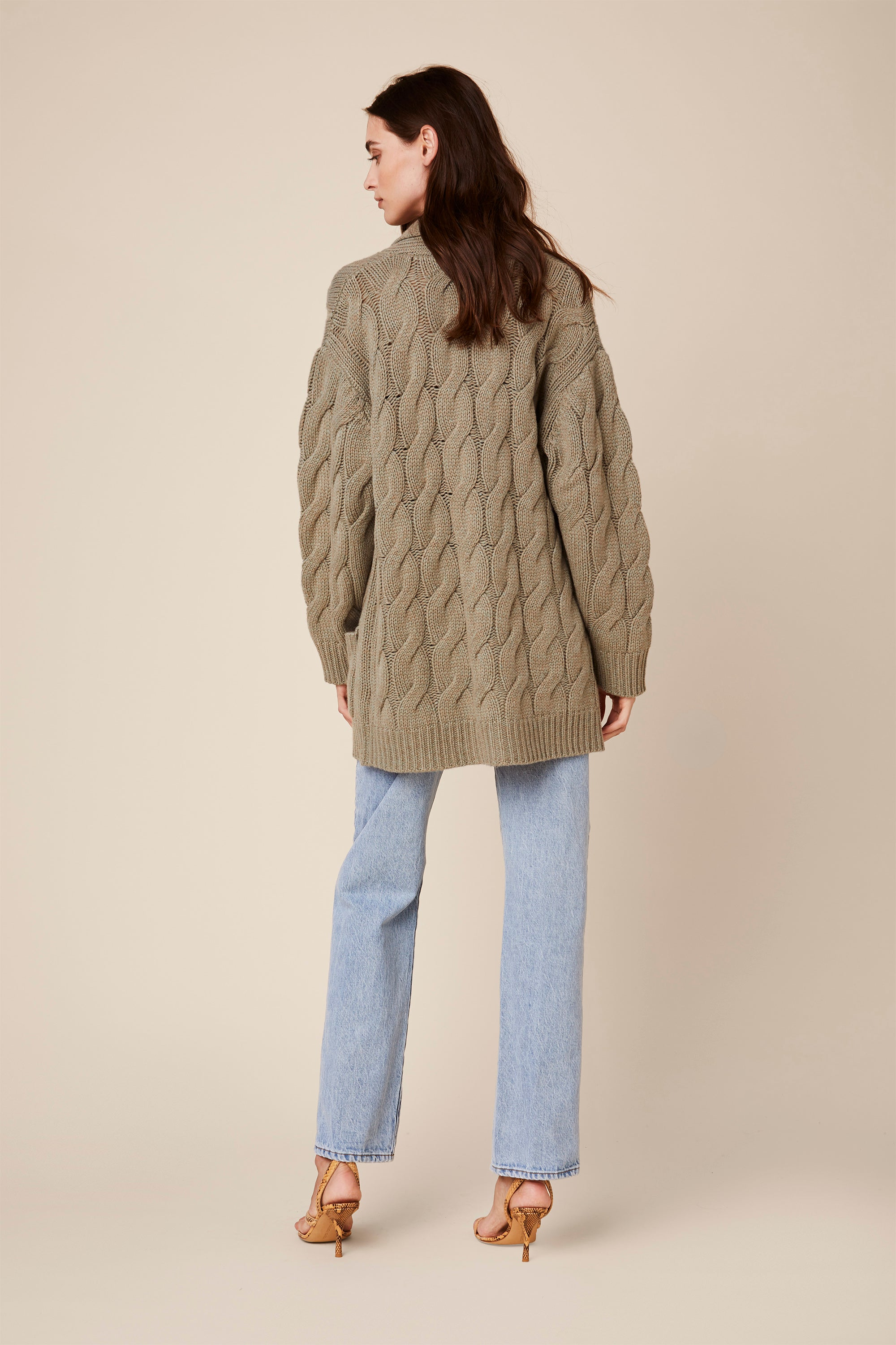 NILES  BRAIDED CASHMERE CARDIGAN | JUNIPER - Final Sale