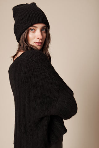 LIAM CASHMERE BEANIE | BLACK - FINAL SALE