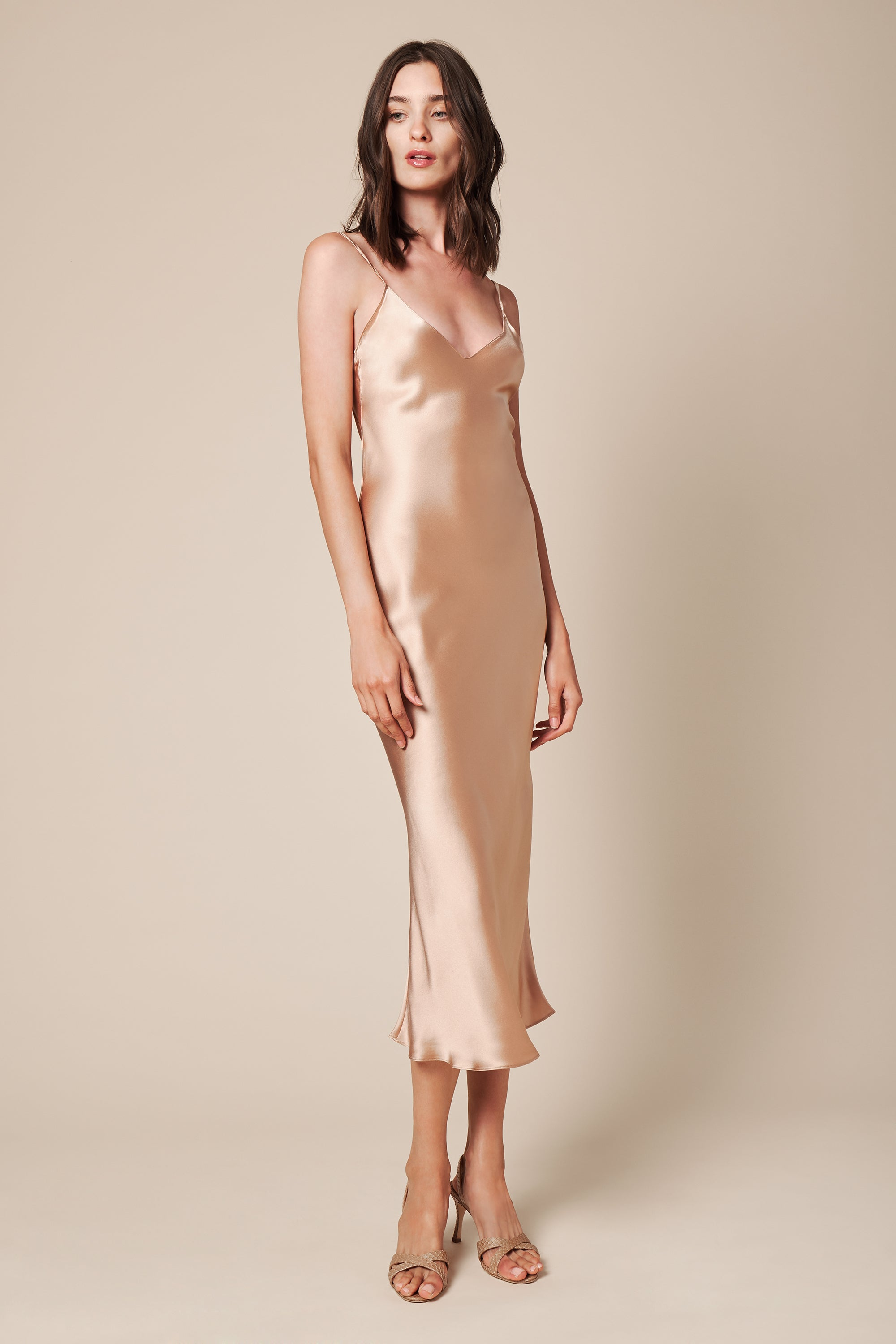 TAYLOR SLIP DRESS | CARAMEL- FINAL SALE