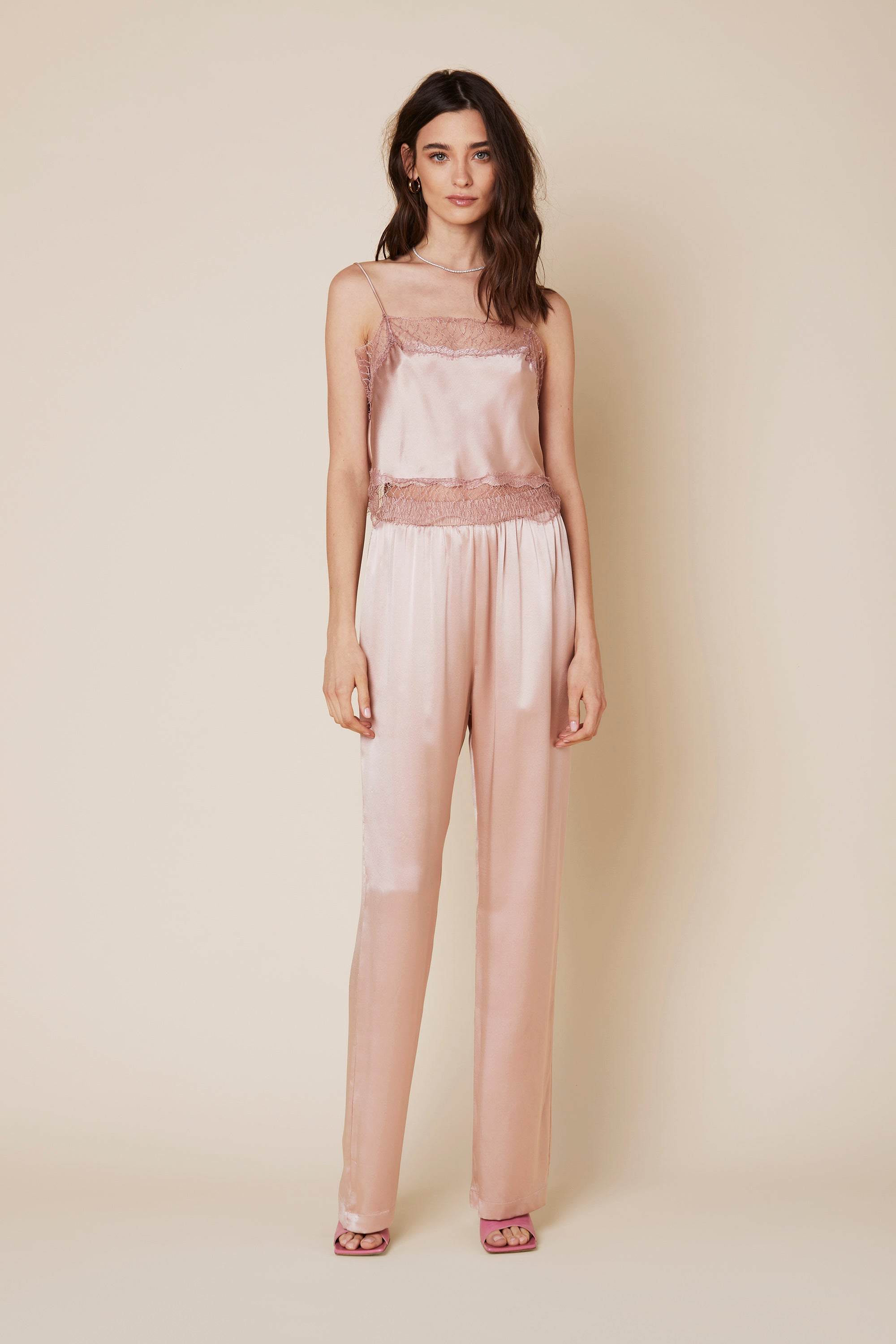 PENELOPE SILK PANT | CHERRY BLOSSOM - Final Sale